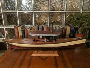 """30"""" STEAM LAUNCH Vintage wood Pond Yacht model ship display boat! African Queen"""
