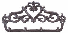 "Cast Iron Wall Hook Rack Ornate Victorian 4 Key Hooks 12"" Wide Hang Coats Towels"