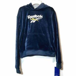 NWT Reebok Velour Hoodie Sweatshirt Boys Size Large Blue Pullover Logo Sweater