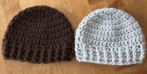 Newborn Baby Boy or GIrl Handmade Crochet Hats 0-3 Months - 2 Hats - Nice !!