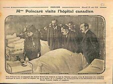 Paris Mme Raymond Poincaré Hôpital Canadien Docteur Bonnet Poilus  WWI 1915