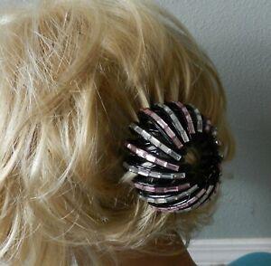 Women Bird Nest Shape Grays & Pinks Rhinestones Hair Clip Clamp Black ~ NEW