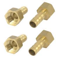 4pcs 1/4BSP Thread 8mm Tube Dia Brass Hose Barb Coupler Connector Gold X8N6 C8U4