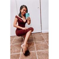 Onlymaker Women's Fluffy Pom Pom Feather Ankle Strap Sandals Open Toe Stilettos