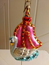 "Radko ""Swan Sailboat"" Ornament Pink Sails Gliding Swan Elegant Vintage Rare"