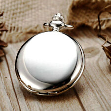 Vintage Smooth Silver Case Pocket Watch Quartz Necklace Chain Pendant Retro Gift