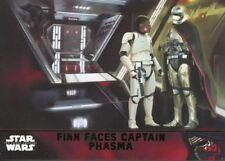 Star Wars Force Awakens S1 Green Parallel Base Card #66 Finn Faces Captain Phas