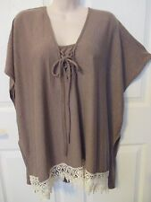 SIMPLY IRRESISTIBLE Sweater Top - size Med. - brown with ivory lace trim - NEW
