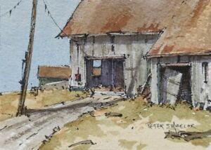"No more door ACEO 2.5""x3.5"" Original Watercolor Peter Sheeler barn sheds rural"
