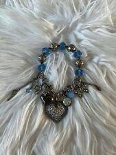 Betsey Johnson Blue Pave Heart Bow Multi Charm Crystal Beaded Stretch Bracelet