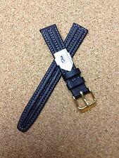 16mm BLACK  HIRSCH STRAP  GENUINE LEATHER  STITCHED  WATCH BAND  waterproof  NEW