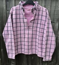 JOULES Pink/Grey Check Cotton Zip Sweat Top Size L