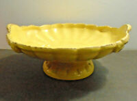 "VINTAGE YELLOW CERAMIC POTTERY PEDESTAL BOWL FRUIT BOWL 4.5"" X 10.50"""