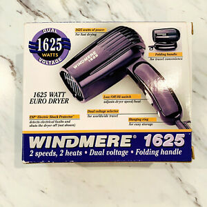 Windmere 1625 Watt Dual Voltage Euro Hair Blow Dryer, Foldable, Travel Size
