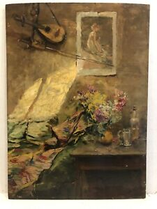 Aime Ponson (1850-1924)French  1910 Impressionist Interior Scene With Flowers