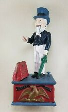 Vintage Reproduction Uncle Sam Cast Iron Mechanical Bank American Eagle - Works!