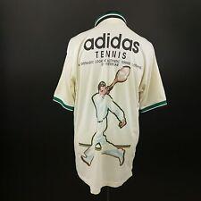Adidas Mens Vintage Tennis Shirt Retro LARGE Short Sleeve Cotton
