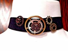 STEAMPUNK BLACK VELVET CHOKER WITH GEARS bronze silver band necklace cogs 6Y
