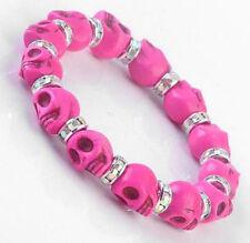 Skull Totenkopf Schädel Armband Armreif Bracelet pink Strass rosa rose NEU OVP