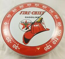 FIRE CHIEF FIREMAN'S HAT TEXACO GASOLINE OIL ROUND DOME ADVERTISING THERMOMETER