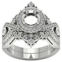 Semi Mount Halo Bridal Ring Set Round Cut Diamond I1 G 1.00Ct Appraisal 14K Gold
