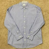 Banana Republic Mens Large Blue/White Striped Long Sleeve Button Front Shirt