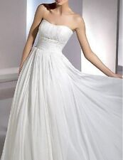 New White Chiffon Strapless Wedding Bridal Dress Debutante Gown Au Sz 14