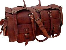 "26"" Men's Brown Leather Vintage Duffle Gym Weekender Overnight Travel Bag"