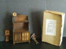 vintage wooden dollhouse furniture open Hutch and three little clocks. 1970s?