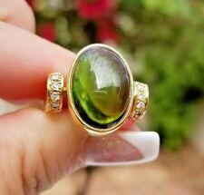 Light Green VVS Cabochon Tourmaline Diamond 18k yellow gold ring/band