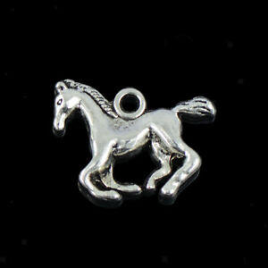 30Pcs Bulk Tibetan Silver 3D Running Horse Charm Pendant DIY Jewelry Finding