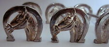 french Vintage set of 6 art deco horse silver plated knife rests