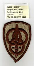 3rd ARMY PERSONNEL COMMAND - FULL BOX OF 200 PATCHES DESERT TAN COLOR DEALER LOT