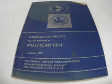 GDR Operating instructions Multicar 22-1 Edition 1972 IFA