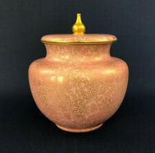 Antique Victorian Doulton Burslem biscuit jar & lid pink / gold A4325 late 1800s