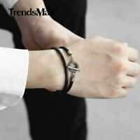 4mm Black Man-made Braided Leather Rope Bangle Necklace Men Toggle Clasp Jewelry
