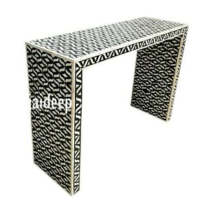 Handmade Bone Inlay Geometric Console Table