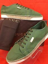 NIB GUCCI MEN'S MILITARY GREEN CANVAS  LOGO ESPADRILLE SNEAKERS 11 US 12 368487