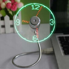 Mini Flexible USB Powered Cooling Fan LED Light Temperature Clock For Laptop PC