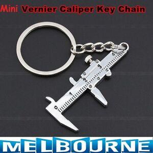 Mini Vernier Caliper Ruler Model Keychain Key Chain Pocket Key Ring Vernier Gift