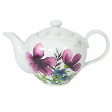 White Porcelain 800ml Vintage Floral Butterfly Teapot Purple Flowers Tea Pot