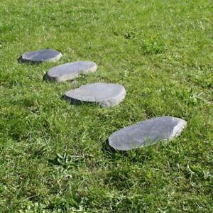 WOHNFREUDEN 4 Stück Naturstein Trittsteine ca 30 cm Trittplatten Stein Garten