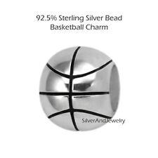 Basketball 925 Sterling Silver Bead Sports Charm for Modular Jewelry BK1021