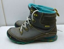 Ahnu Gray Leather Textile Waterproof Athletic Lace Hiking Boot Women Shoes 8M 39