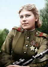 WWII Color Photo Soviet Female Sniper Roza Shanina 59 Kills WW2 Russia  / 1114
