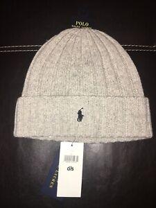 Polo Ralph Lauren Men's Wool Blend Skull Cap Beanie Light Gray One Size