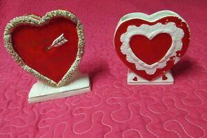 2 vintage JAPAN Valentine Planters-Heart Shaped