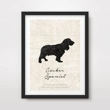 COCKER SPANIEL DOG ART PRINT POSTER Breed Black Silhouette Vintage Picture