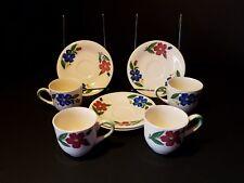 Vintage Shenandoah Ware ~ Paden City Pottery ~ ~ Demitasse Cup/Saucer ~ Set of 4