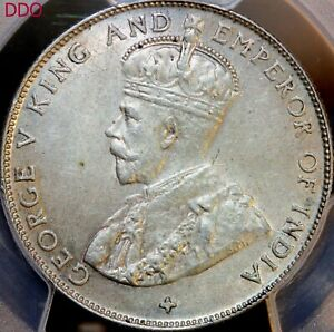 DDO ~1920 STRAITS SETTLEMENTS GEORGE V SILVER 50 CENTS  W / CROSS~~PCGS MS-62
